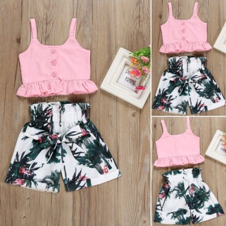 Beautiful Girl Clothing Store (Fashion Toddler Kid Baby Girls Vest Crop Tops Ruched Shorts Floral Summer Casual Clothes Set Outfits)