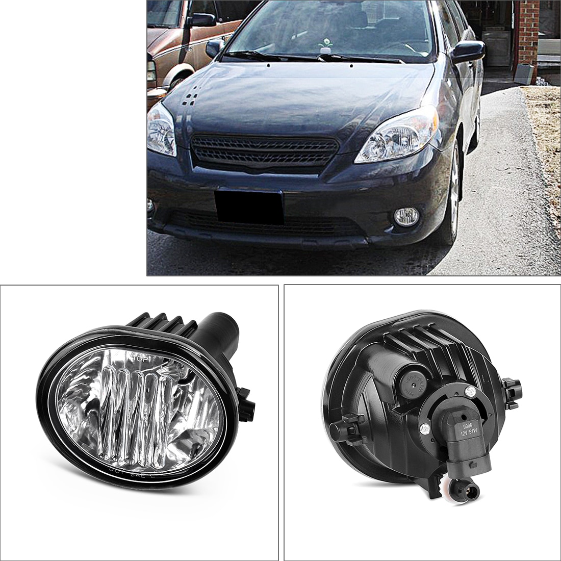 Fog Lights 9006 12V 51W Halogen Lamp for 03-08 Toyota Matrix/ 03-08 Pontiac  Vibe / 04-10 Scion TC One Pair of Right and Left Clear Glass Lens Fog Lamps  - Walmart.com - Walmart.com | 2007 Toyota Scion Tc Fog Lights Wiring |  | Walmart