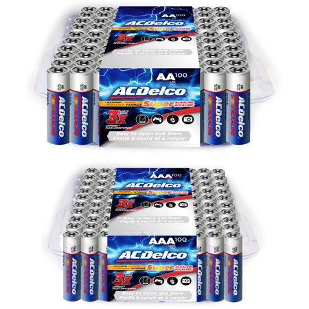 ACDelco AA and AAA Super Alkaline Batteries, 100-Count of AA and 100-Count of (Aa Top 100)