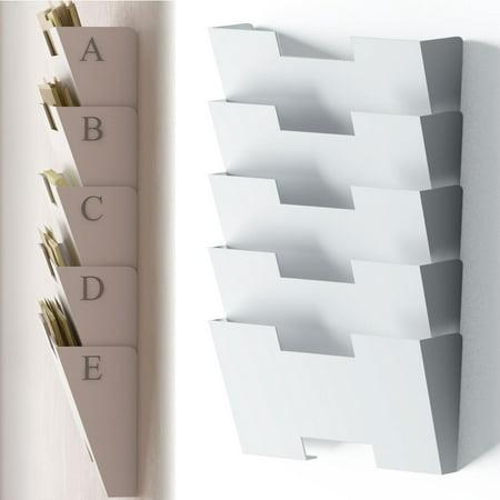 White Wall Mount Steel File Holder Organizer Rack 5 Sectional Modular Design Wider Than Letter