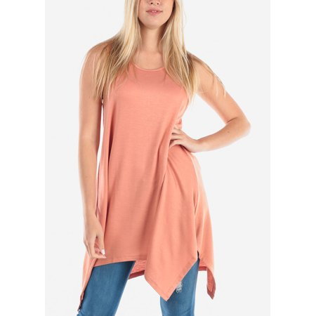 Women's Junior Ladies Casual Cute Sleeveless Asymmetrical Hem Flowy Super Stretchy Round Neckline Peach Orange Tunic Top 40661W