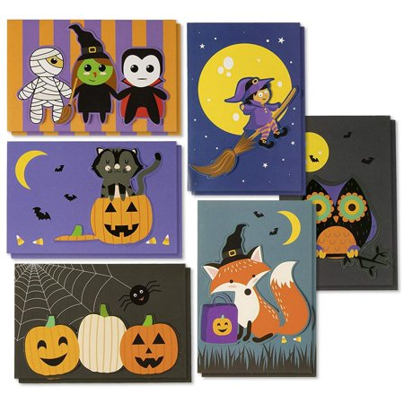Halloween Cards Made With Cricut (Halloween Greeting Cards - 24-Pack Handmade Halloween Notecards with 6 Designs for Trick-or-Treating, Party Favors, Includes Inside Greeting Messages and Orange Envelopes, 4 x 6)