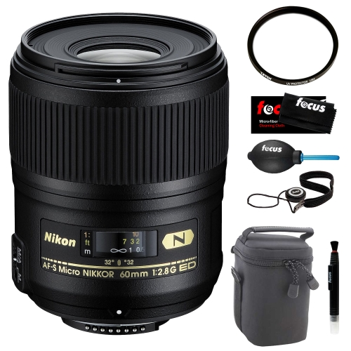 Nikon 60mm F/2.8G ED AF-S Micro-Nikkor Macro Camera Lens + Deluxe Accessory Kit
