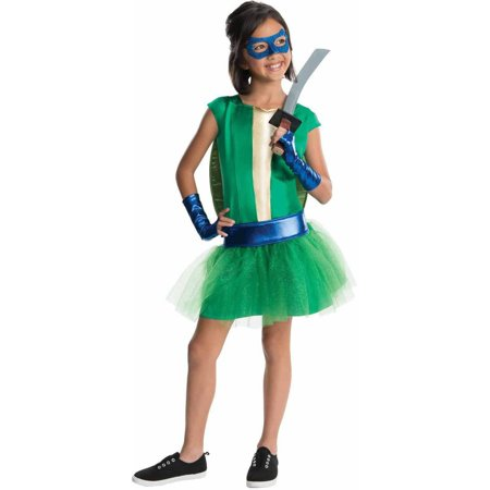Diy Halloween Teenage Girl Costumes (Teenage Mutant Ninja Turtles Deluxe Leonardo Girl Tutu Girls' Child Halloween)