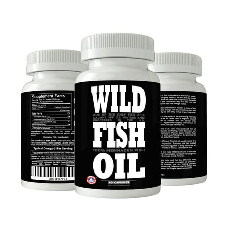 Wild Fish Oil Caps, Sustainably Harvested, FOS Certified, EPA DHA DPA Supplement 60 ct (2x Bottles)