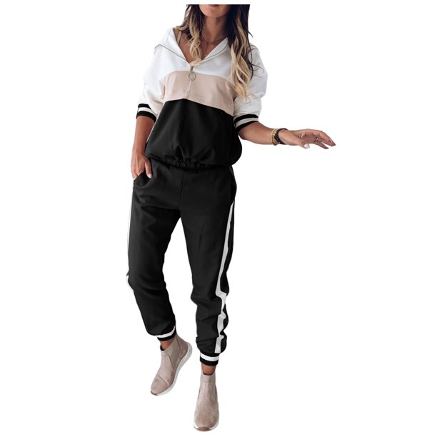 Selfieee Selfieee Women S Plus Size Jogger Outfit Matching Sweat Suits Long Sleeve Hooded Lounge Tracksuit 30085 Black 2x Large Walmart Com Walmart Com