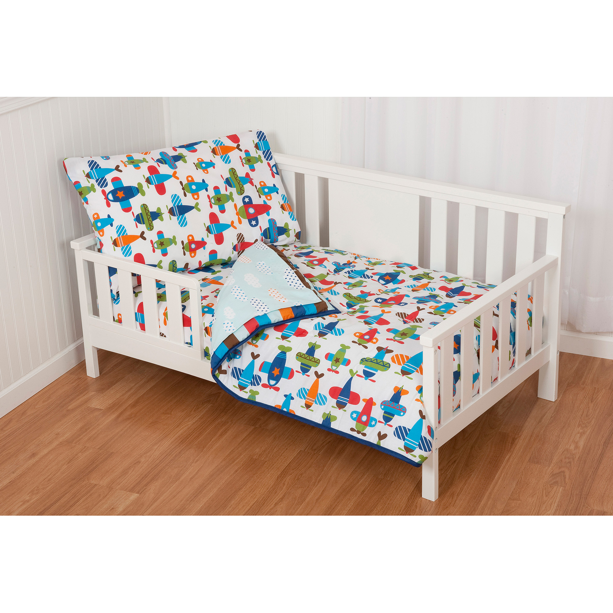 Sumersault Taking Flight 4-Piece Toddler Bedding Set