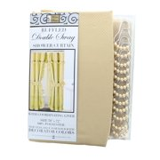 """Sand Ruffled Double Swag Shower Curtain & Liner 70"""" x 72"""" w/12 Roller Rings"""