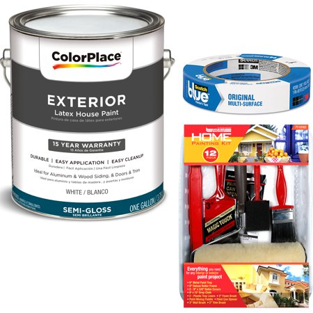 ColorPlace Exterior White Semi-Gloss Paint 1 Gallon with ScotchBlue Painters Tape Original Multi-Use, .94in x 60yd(24mm x 54,8m Bundle