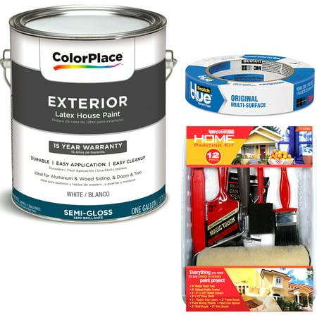 ColorPlace Exterior White Semi-Gloss Paint 1 Gallon with ScotchBlue Painters Tape Original Multi-Use, .94in x 60yd(24mm x 54,8m Bundle - Color Plate
