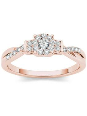 1/4 Carat T.W. Diamond Criss-Cross Shank Cluster 10kt Rose Gold Engagement Ring