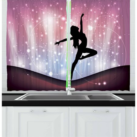 Contemporary Curtains 2 Panels Set, Silhouette of Ballerina Performing on Abstract Backdrop Magic Dance Fine Arts, Window Drapes for Living Room Bedroom, 55W X 39L Inches, Multicolor, by Ambesonne ()