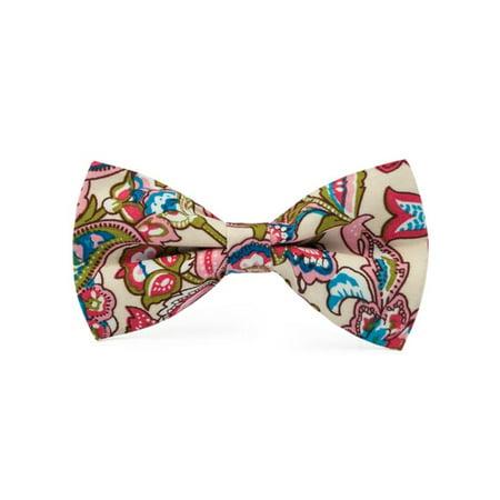 Men's Beige Red Pink & Blue Paisley Cotton Bow Tie Hanky Cufflinks Set