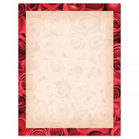 - Bed of Roses on Cream Letter Papers - Set of 25 Valentine'stationery papers are 8 1/2