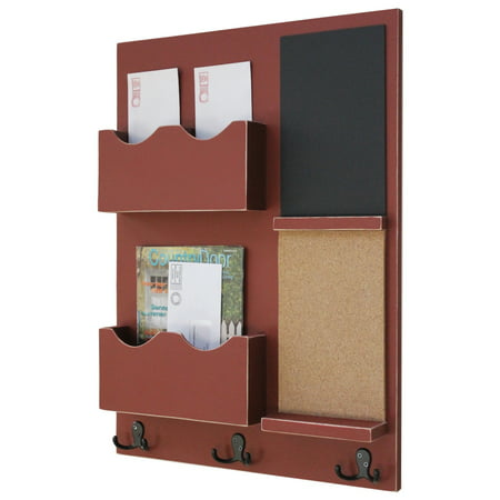 Mail Organizer With Cork Board Chalkboard Coat Hooks Double Slots
