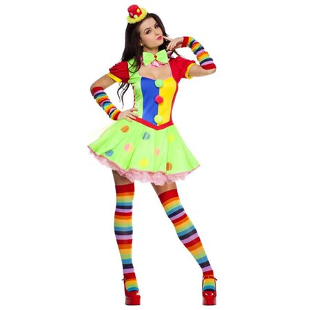 Music Legs 70471Q-3X-4X 4 Piece Plus Size Fun Colored Polka Dot Clown Dress Costume, 3X & 4X