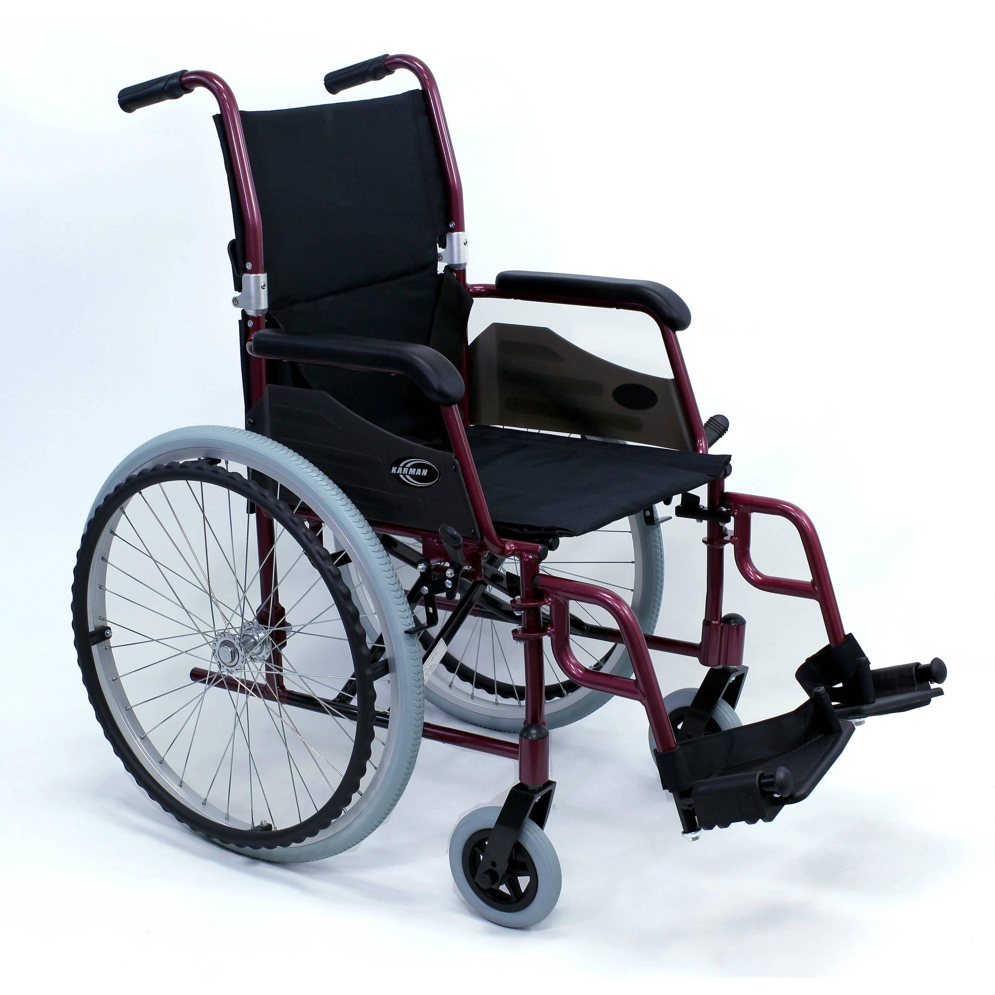"Karman LT-980 24 pounds Lightweight Wheelchair, 18"" seat, Burgundy"