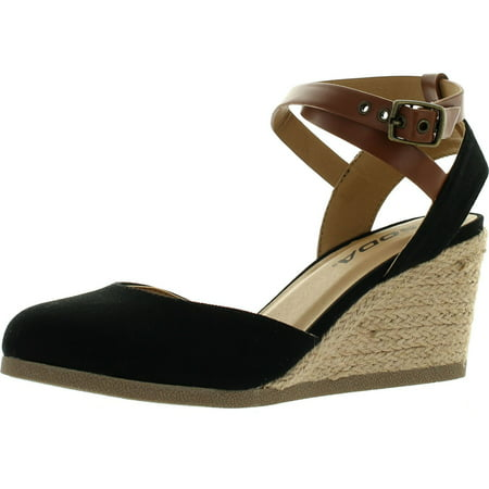 Closed Toe Fisherman Sandal - Soda Womens Request Closed Toe Espadrille Wedge Sandal in Black Dark Tan Linen