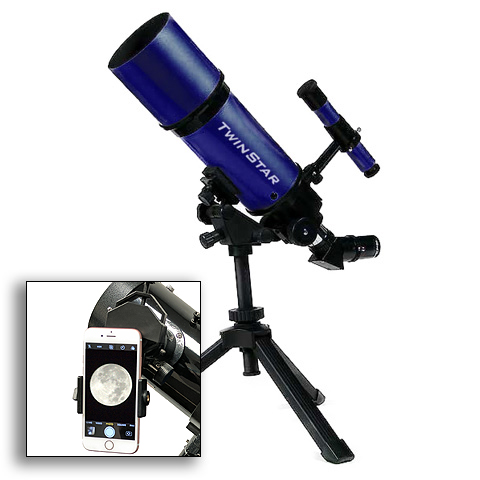 Twinstar 80mm Refractor Telescope, Blue w Universal Smart...