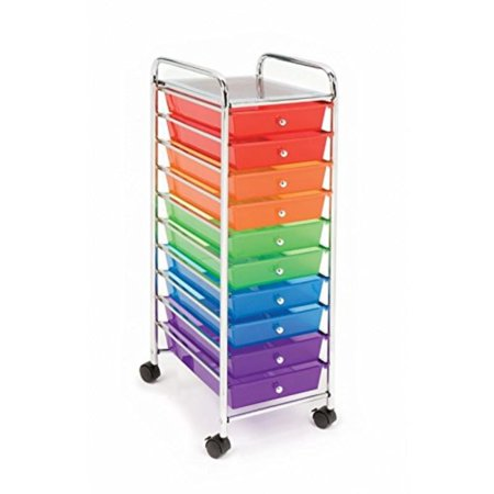 10-Drawer Organizer Cart, Translucent Color-Coded, Pure Organization - 10 drawers provide plenty of space for keeping your home office supplies.., By Seville - Seville Orange