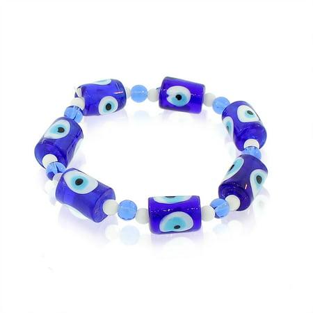 - Glass Beaded Blue Evil Eye Protection Stretch Bangle Bracelet