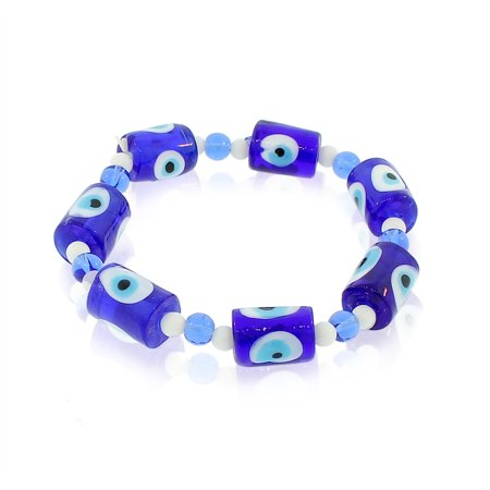Blue Glass Bracelet (Glass Beaded Blue Evil Eye Protection Stretch Bangle Bracelet)