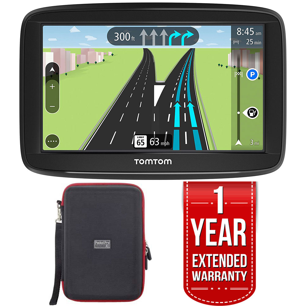 "TomTom VIA 1625M 6"" Touchscreen GPS Navigation Lifetime Maps w/Case + Extended Warranty"