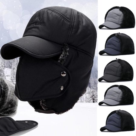 Mens Women Unisex Warm Trapper Aviator Trooper Earflap Winter Ski Hat With Mask - Colonial Hats For Men