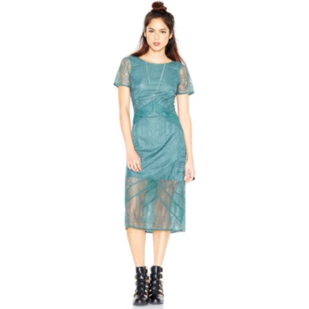 Made For Impulse Women's Short-Sleeve Lace-Overlay Midi Dress Size