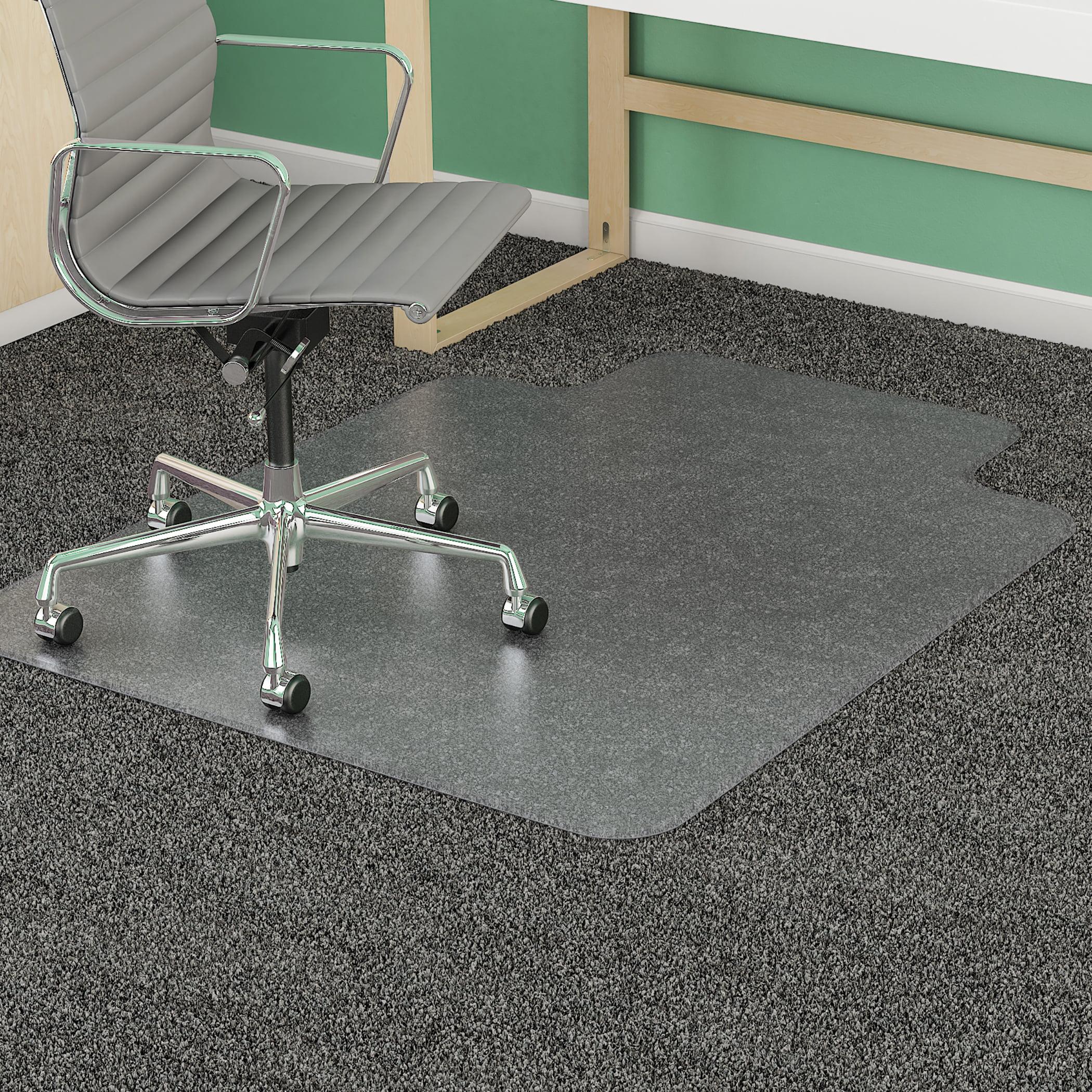 "CM14233 Office reception home carpet floor protector Super chair mat Beveled Edge 45"" x 53"" Clear Lip (25""x12"") Medium Pile Thickness Mat"