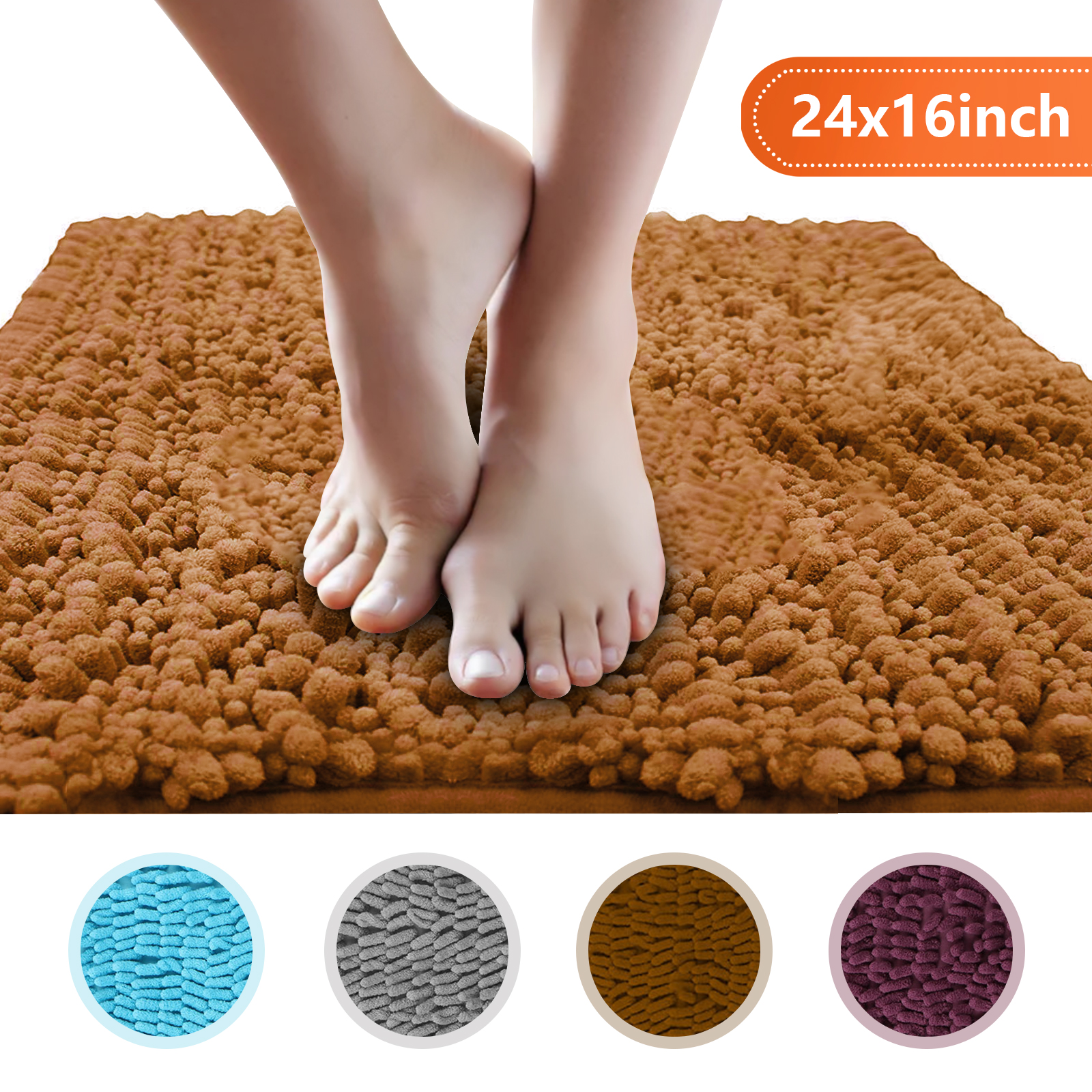 Bath Rugs Home Eanpet Chenille Bath Mat Non Slip Microfiber Floor Mat Baby Bath Mat For Kids Ultra Soft Washable Bathroom Dry Fast Water Absorbent Shag Shower Mat Area Rugs 20 X 32