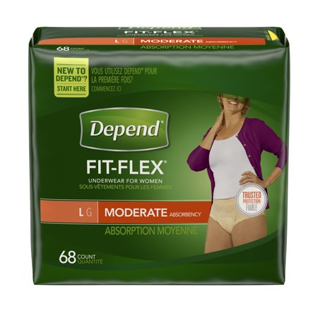 Depend FIT-FLEX Incontinence Underwear for Women, Moderate Absorbency, L, 68 count