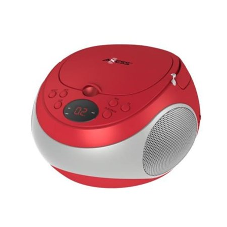 CD Player AM & FM Radio LED Display Headphone Jack AC Power Batteries, Red (Kids Cd Player With Headphones)