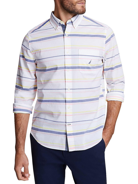 Stripe-Print Classic-Fit Button-Down Shirt