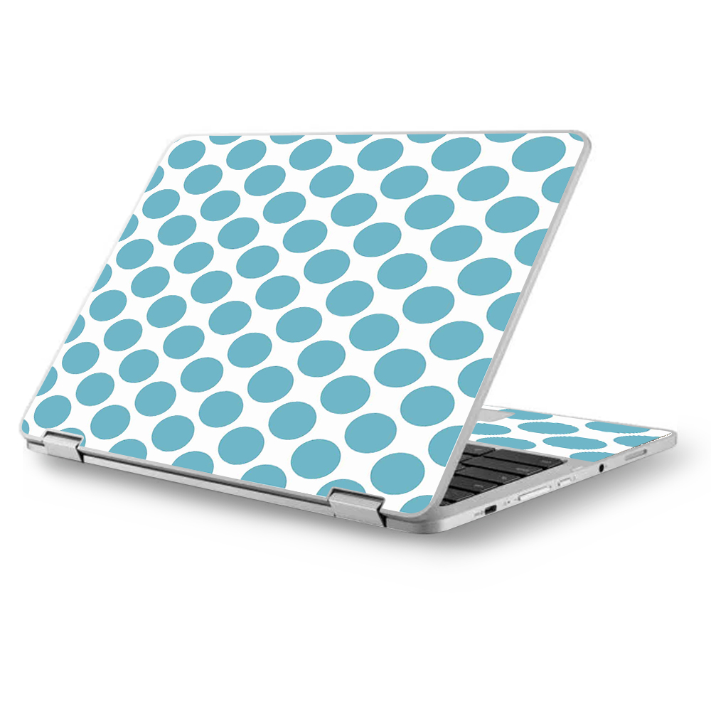 "Skins Decals for Asus Chromebook 12.5"" Flip C302CA Laptop Vinyl Wrap / Teal Blue Polka Dots"