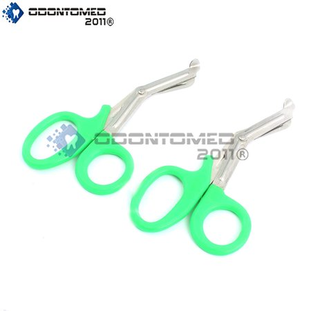 Odontomed2011® 2 Pcs Paramedic Utility Bandage First Aid Stainless Steel Trauma Emt Ems Shears Scissors 7.25' Green Odm (Ems Mountain Light)