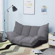 Lazy Sofa Futons Sets Folding Sofa Bed Adjustable Sofa TV Floor Couch | Dark Grey