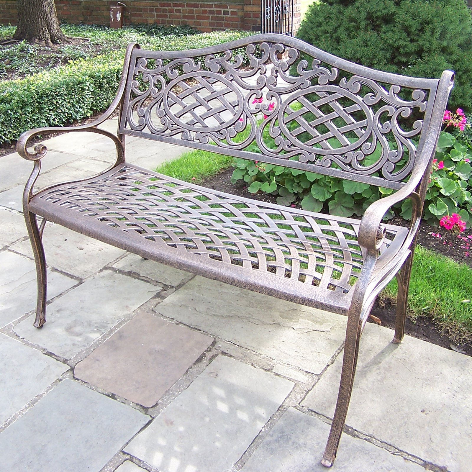 Oakland Living Ornamental Outdoor Curved Back Settee Bench by Oakland Living