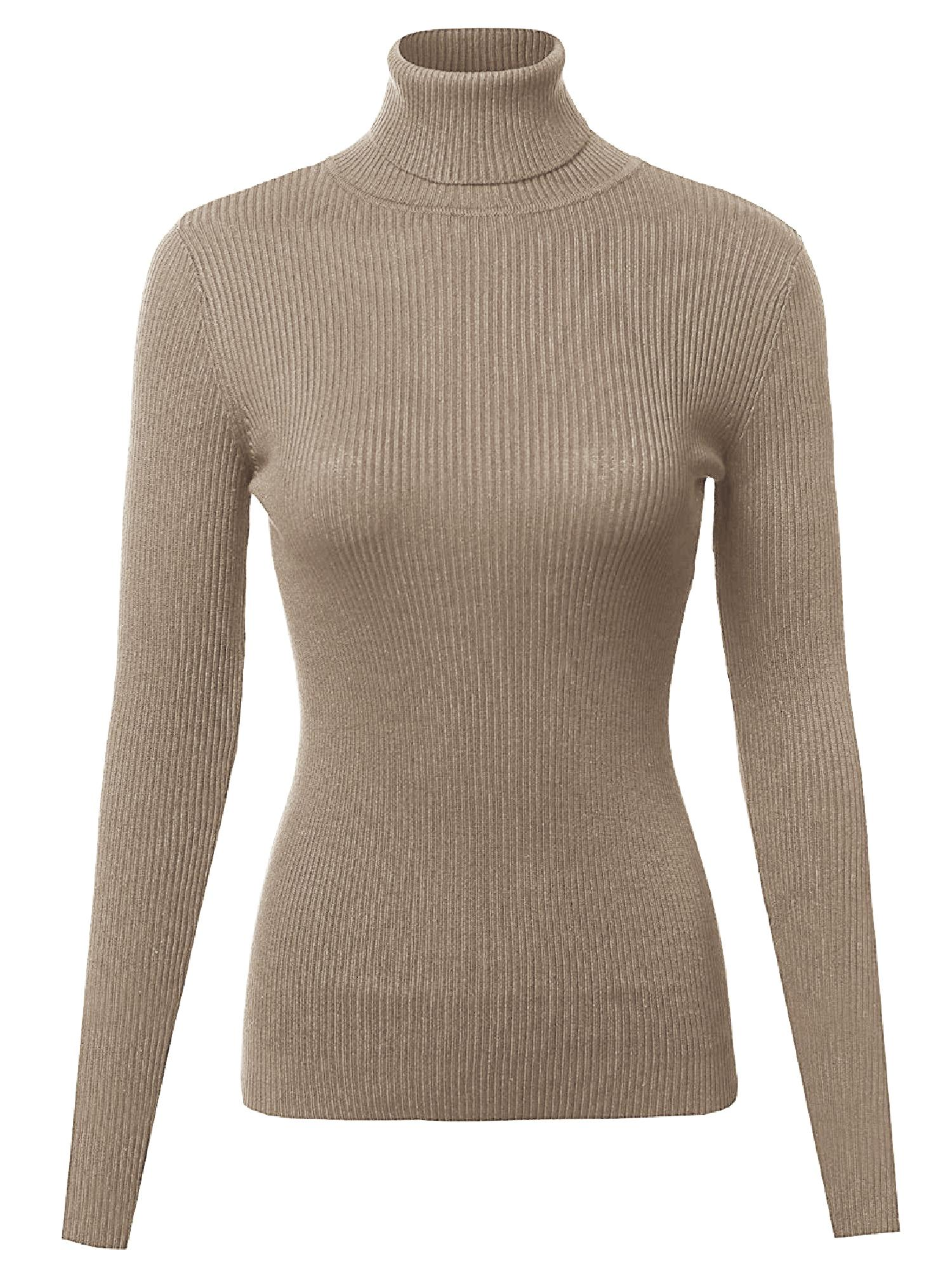 FashionOutfit Women's Basic Slim Fit Lightweight Ribbed Turtleneck Sweater by