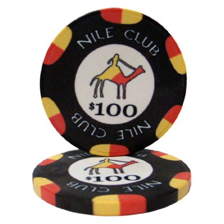 25 $100 Nile Club 10 Gram Ceramic Casino Quality Poker Chips, Casino weight and feel By Brybelly