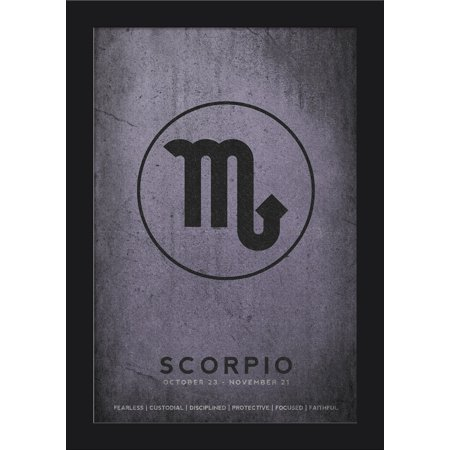 - Scorpio - Astrological Sign - Zodiac - Lantern Press Artwork (12x18 Giclee Art Print, Gallery Framed, Black Wood)