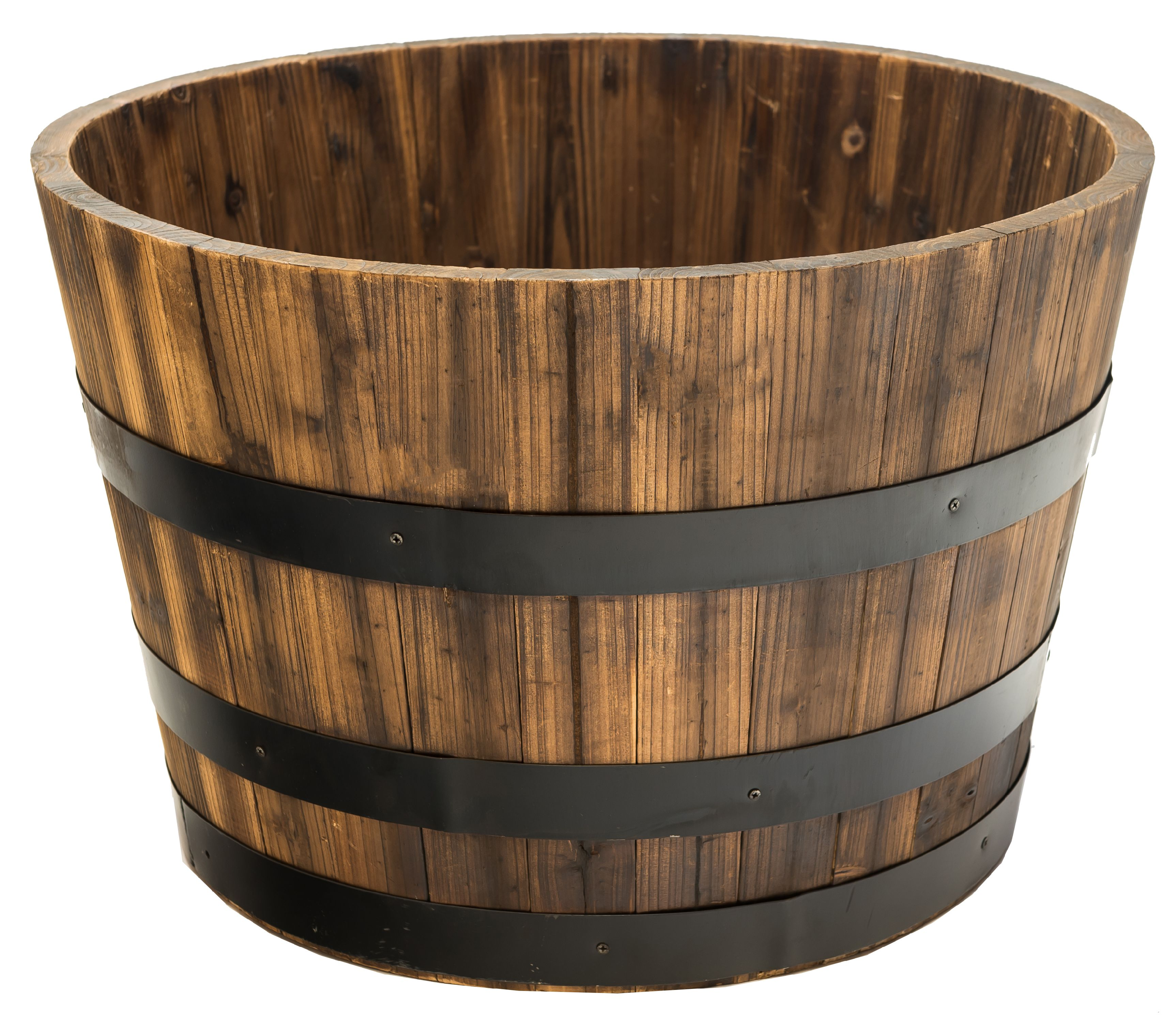 Real Wood Products Cedar Whiskey Barrel Planter