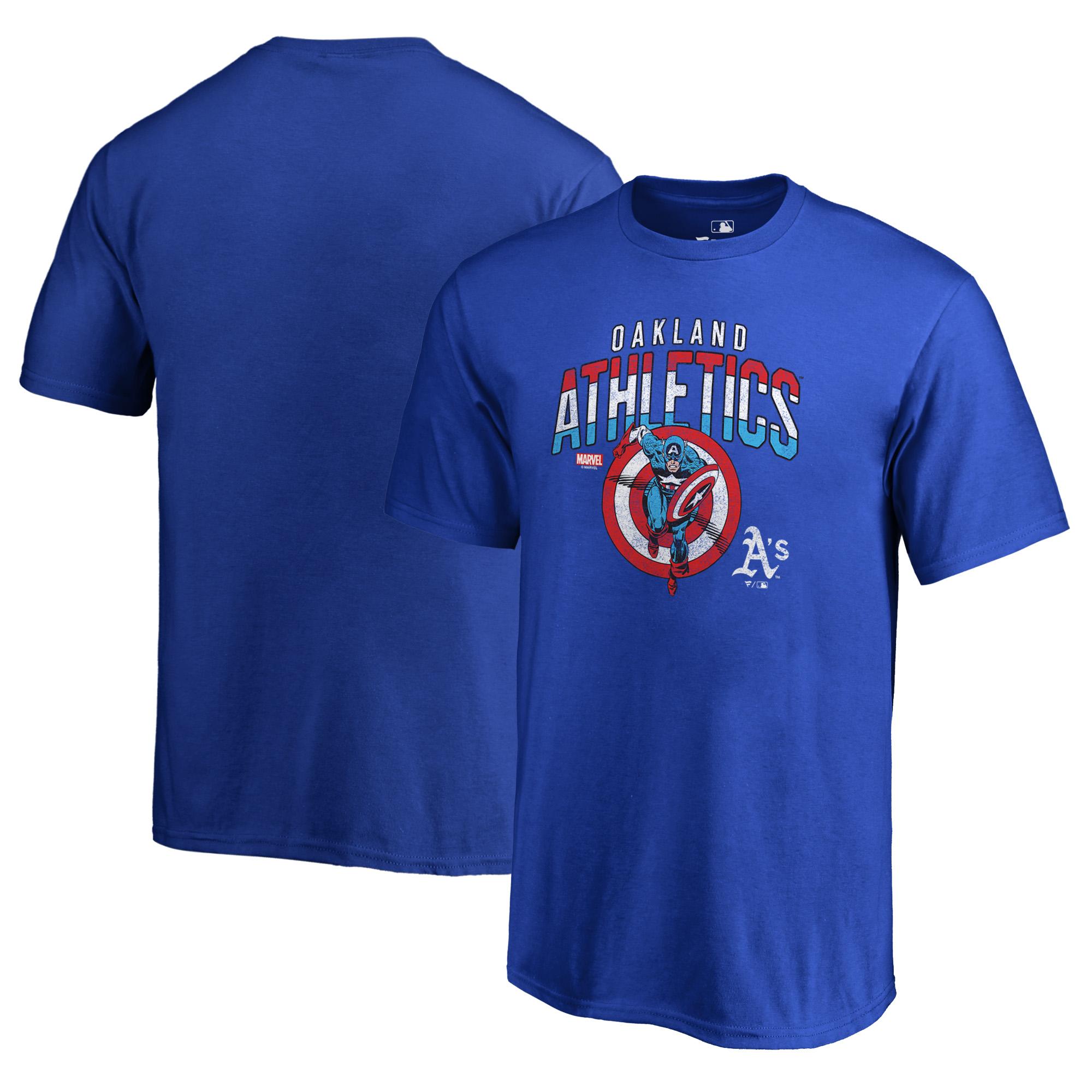 Oakland Athletics Fanatics Branded Youth MLB Marvel Captain's Shield T-Shirt - Royal