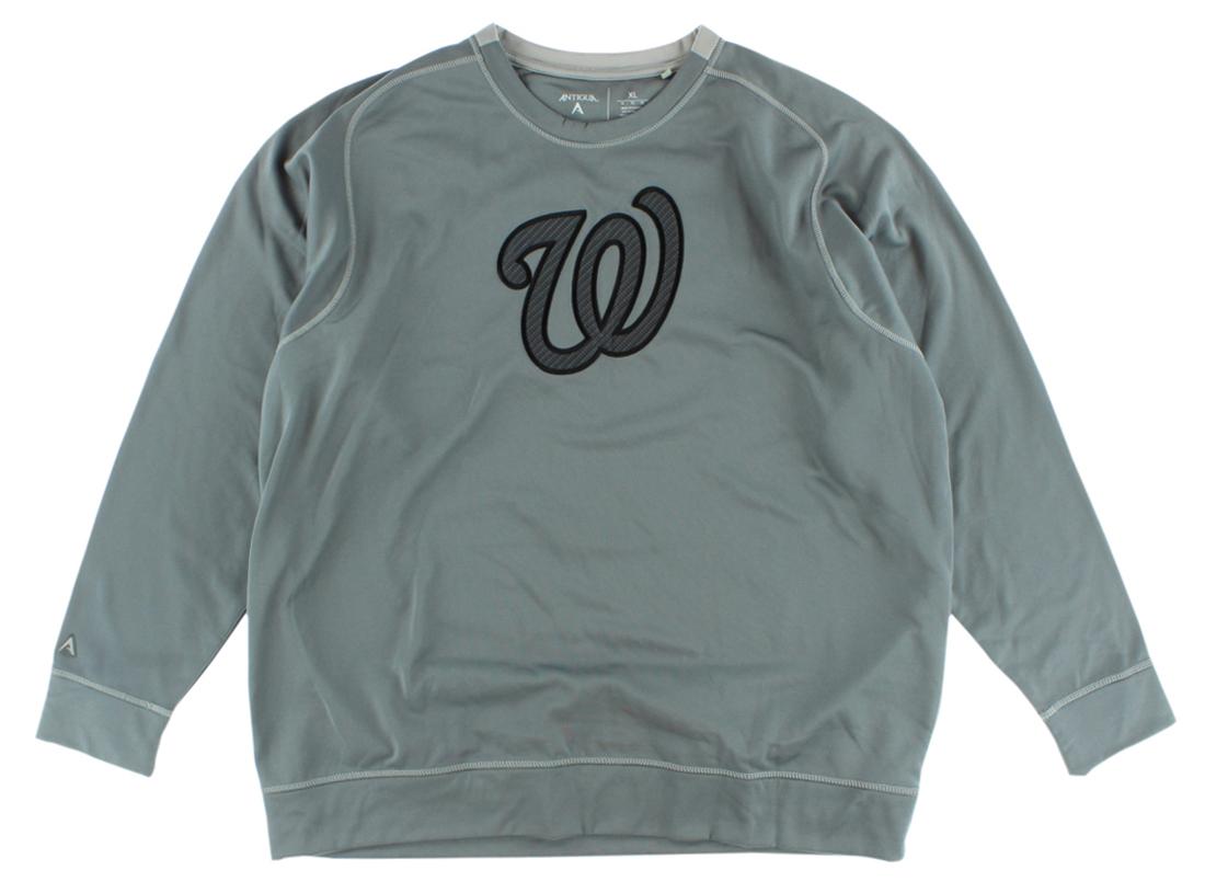 Antigua Mens Washington Nationals MLB Carbon Crew Sweatshirt Grey by