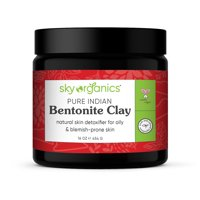 Indian Healing Clay By Sky Organics 16oz -100% Pure & Natural Bentonite Clay-Therapeutic Grade - Face Skin Care, Deep Skin Pore Cleansing, Detoxifying- Helps with Acne & Rejuvenating Skin- Made