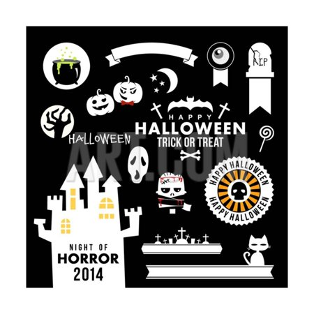 Set of Halloween Party Decoration Design Elements. Vector Illustration. Print Wall Art By AntartStock