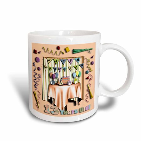 3dRose Birthday Room in Peach Happy Birthday 13 Years Old, Ceramic Mug,