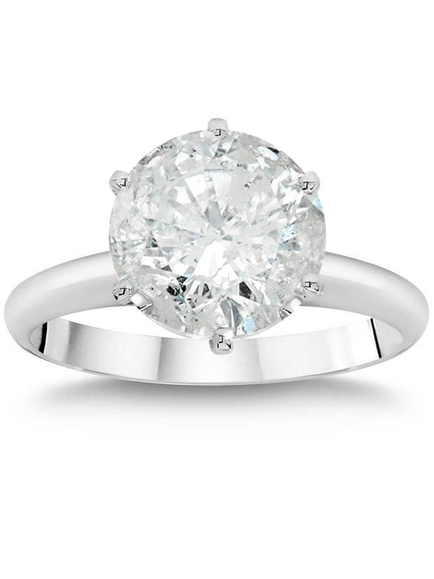 3ct Round Brilliant Diamond Solitaire Engagement Ring 14K White Gold Enhanced by Pompeii3