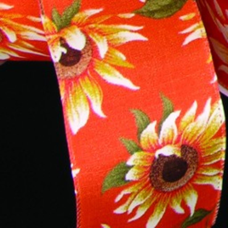 "Orange Sunflower Meadow Print Wired Craft Ribbon 2.5"" x 20 Yards"