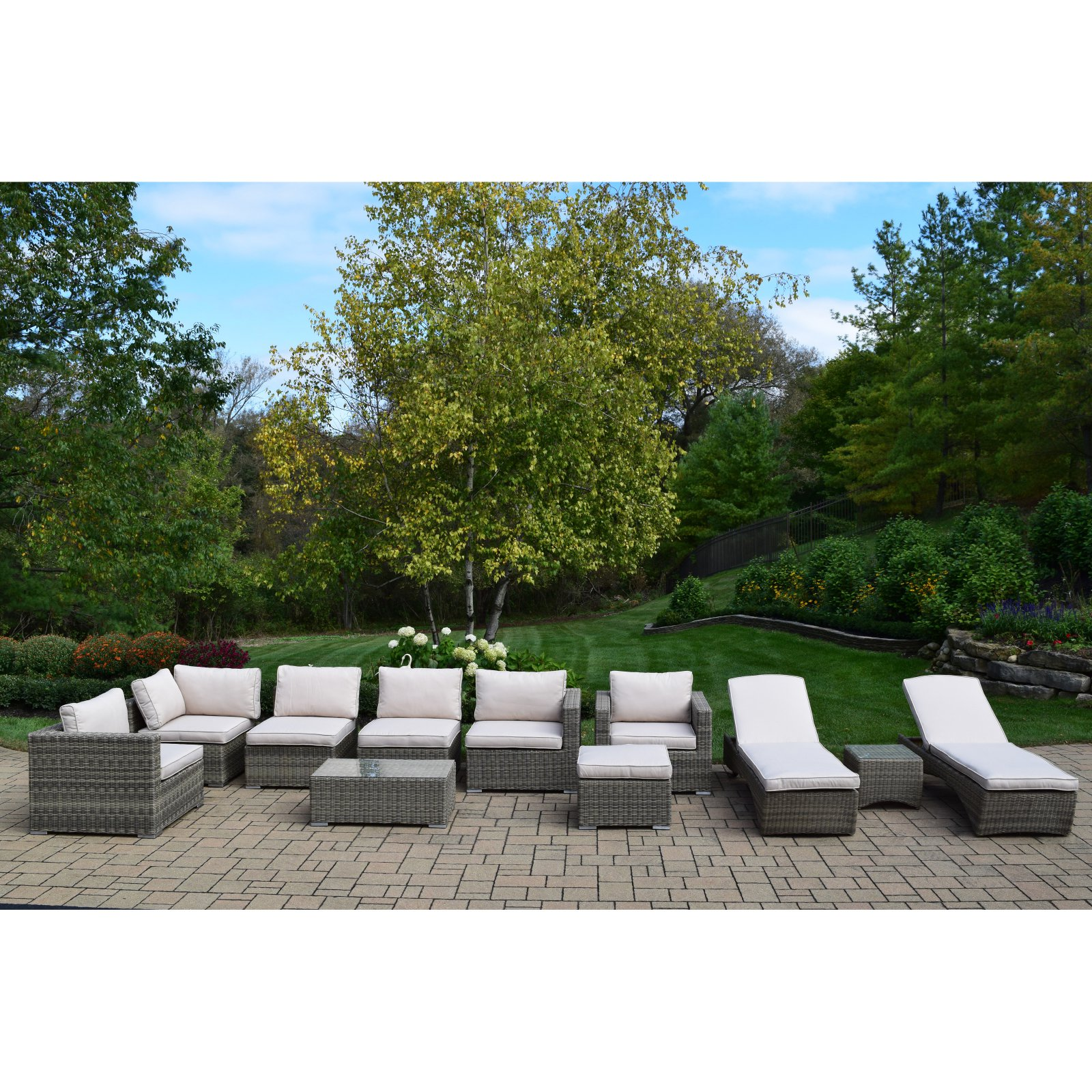 Oakland Living Borneo Modular Resin Wicker 11 Piece Sectional Patio Conversation Set